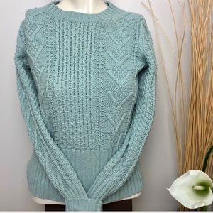 Gap Green Wool Blend Cable Knit Sweater Size S